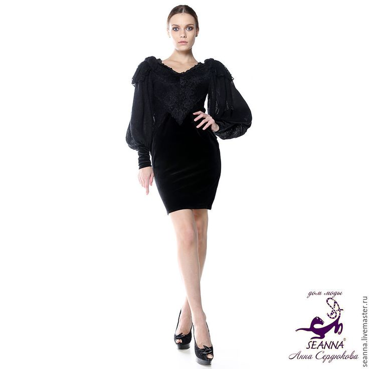 """Купить Бархатно-кружевное с вязаными рукавами платье """"Кружево с косами"""" - черный, коктйельное платье"""