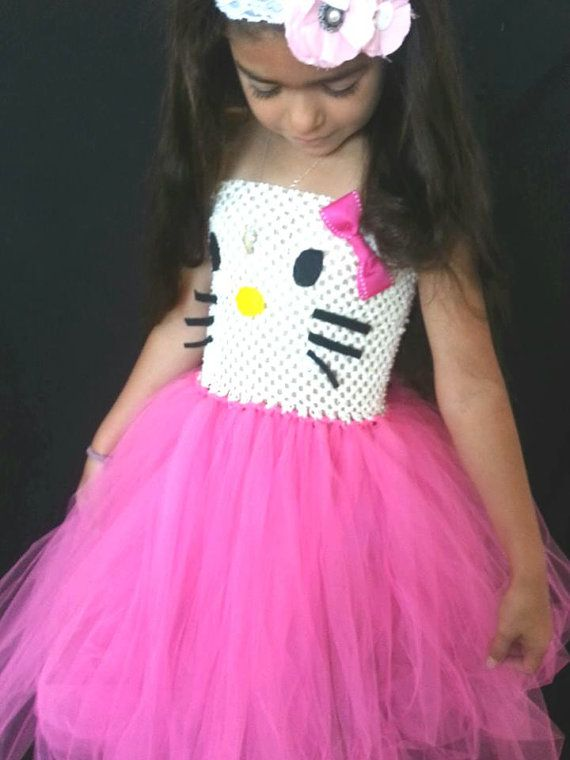 INFANT Hello Kitty Inspired Tutu Tulle Dress in Hot Pink Full and Long on Etsy, $38.00