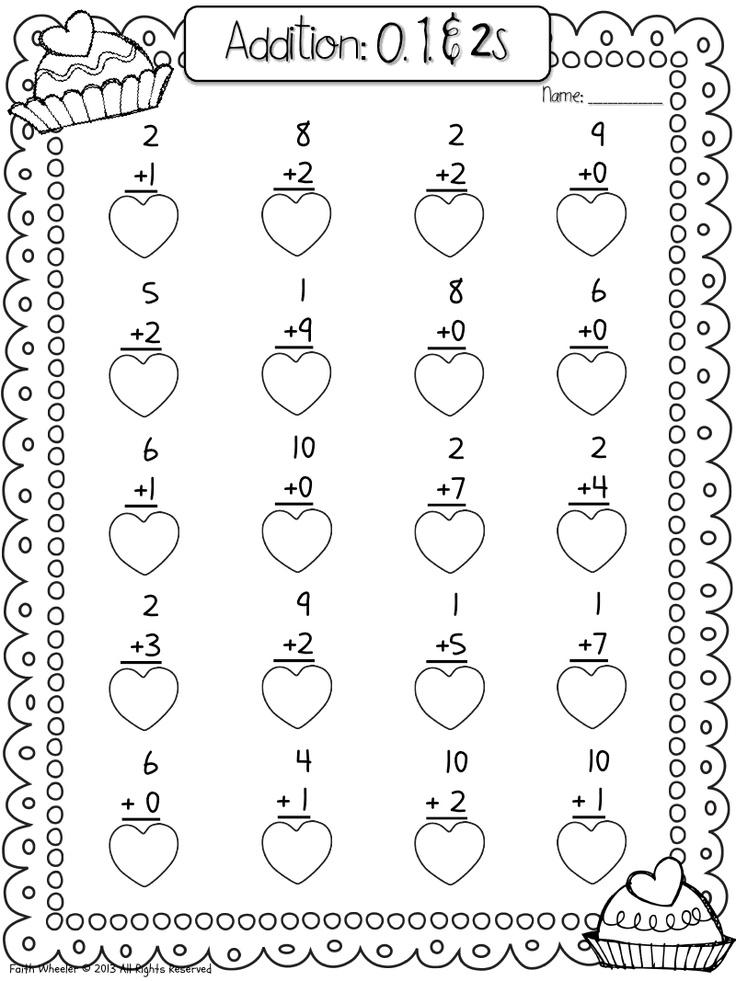 Valentine Single digit to 10 addition