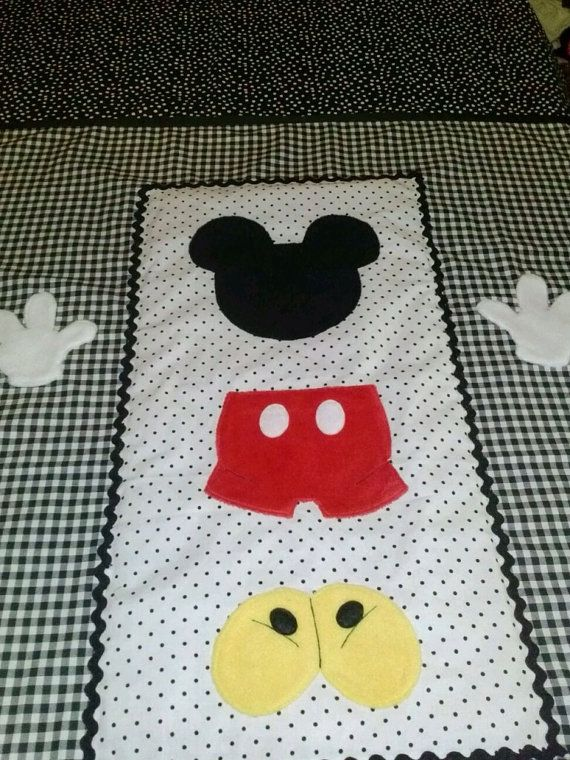 Mickey Mouse Black and White Crib Quilt by BetsysBabyBoutique19