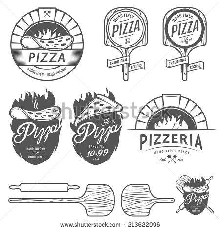 Vintage pizzeria labels, badges and design elements                                                                                                                                                      Más