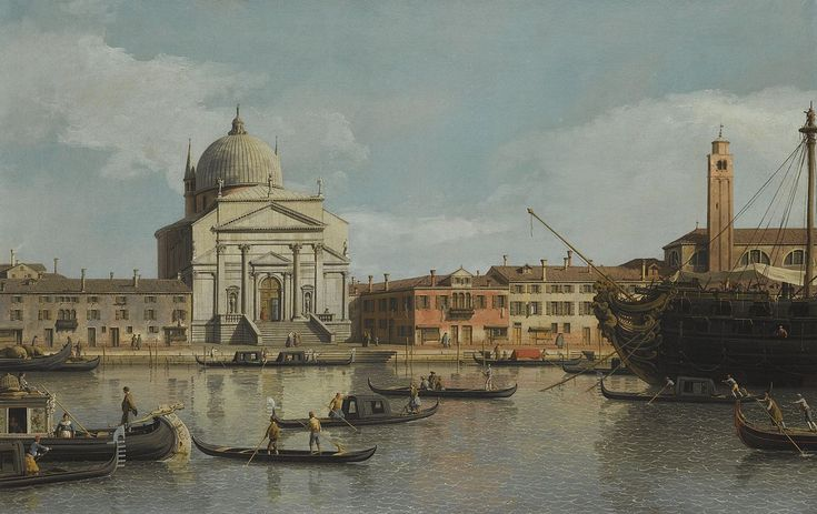 Canaletto - Venice, a view of the Churches of the Redentore and San Giacomo, with a moored Man-of-war, Gondolas and Barges, 1745