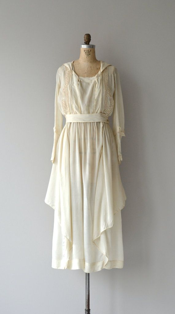 Edwardian silk dress vintage 1920s dress cream by DearGolden