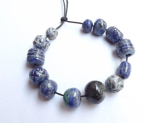 13 Ceramic beads glossy glaze bead raku by BlueBirdyDesign on Etsy