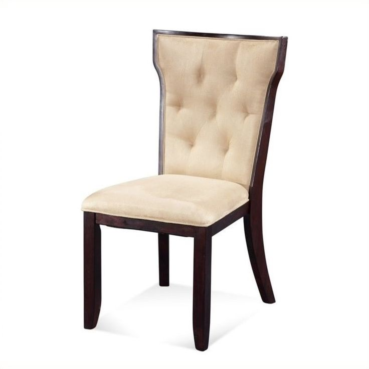 Lowest price online on all Bassett Mirror Serenity Upholstered Microfiber  Dining Chair in Beige (Set of 2) - D1711-S948EC