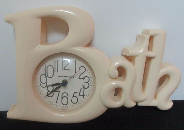 Vintage Ecru BATH Bathroom Wall Clock New Haven Quartz Burwood Clock Part 91