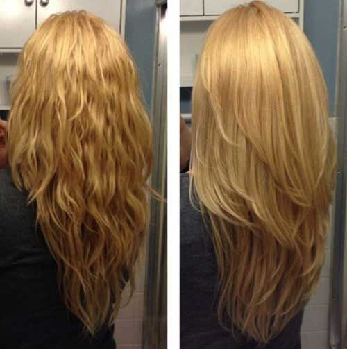 Long Wavy + Straight Strawberry-Blonde Hair with Long Layers and a V Shape