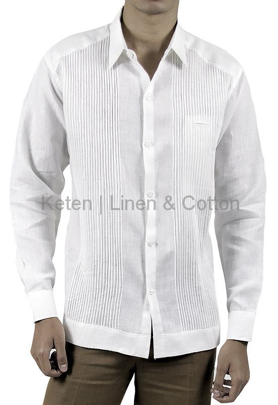 This Presidential Guayabera is made from 100% High quality Linen, long-sleeved, basic collar, button cuffs, a small front pocket, hidden buttoned front and Hand Knitted Tucks. Slim-Fit available in sizes...