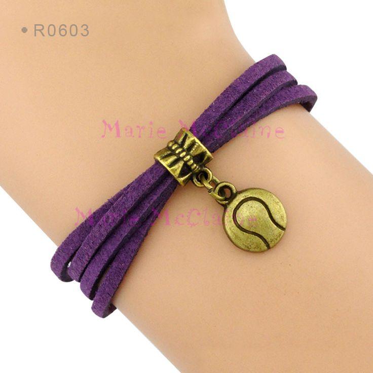 (10 pieces/lot) Tennis Charm Bracelet Sports Team Tennis Team Bracelet Purple Suede Leather Cord Bracelet - Customizable
