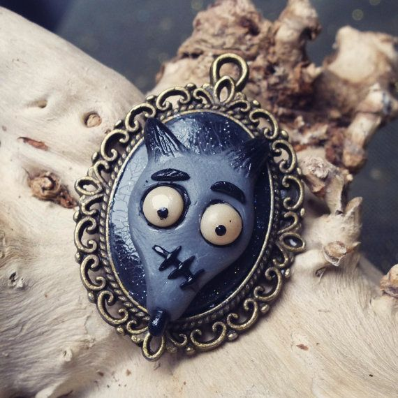 Clay Frankenweenie Cameo Necklace by PumpkinMich on Etsy, €12.00
