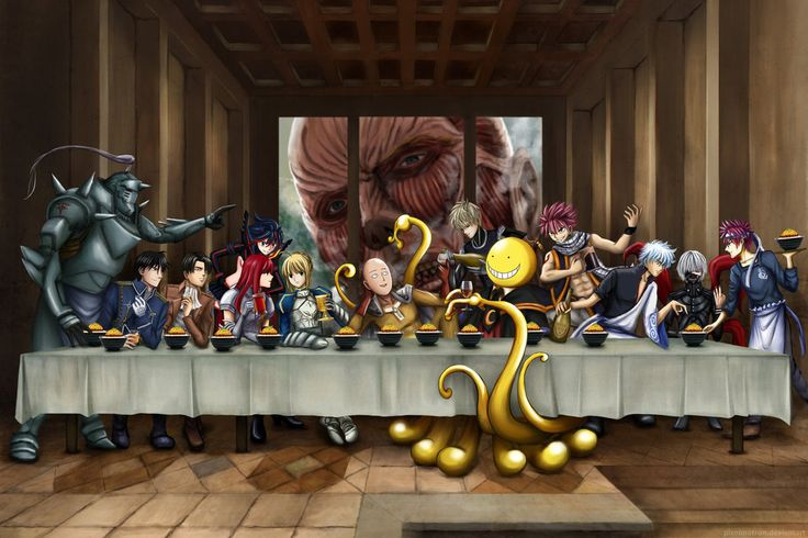 The Last Supper - Anime crossover version by pixelmotron on DeviantArt I like because of the Titan!