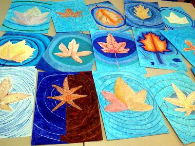 Leaves floating: Drawing leaves from real leaves adding water ripples