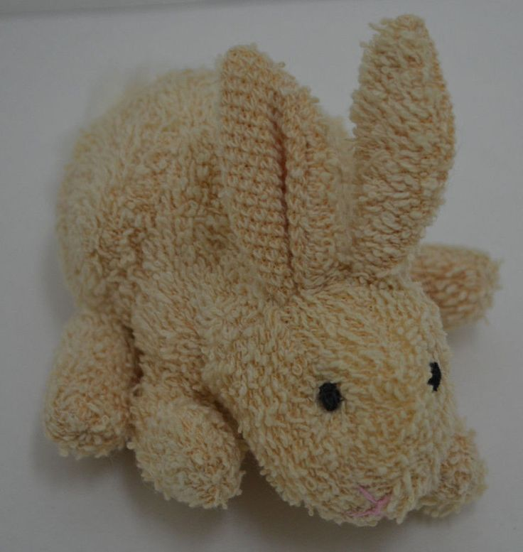 "Russ Berrie Terry Cloth Bunny Rabbit Plush Beige Bean Bag Mini #1062 5"" #RussBerrie"