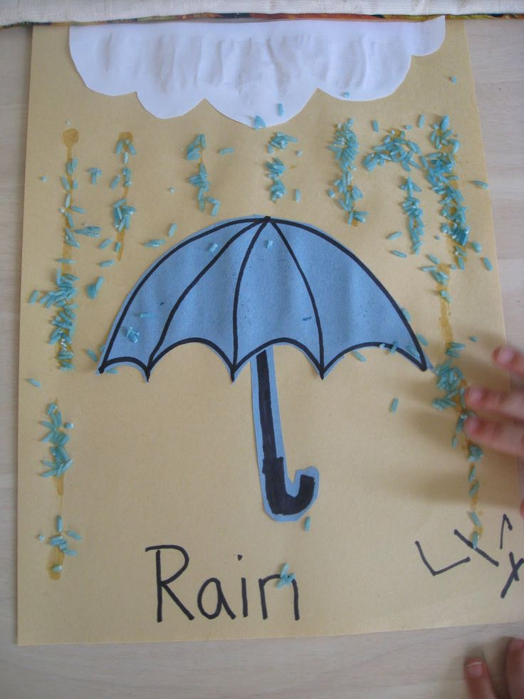 rain crafts for kindergarten | Cut out construction paper umbrella. Have child glue to paper.