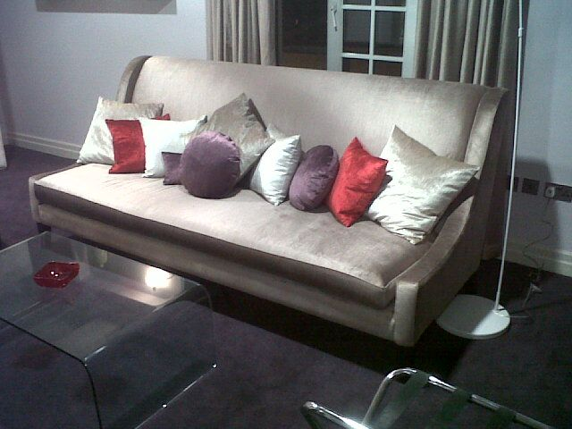 Wicklow Mink Sofa with Wicklow Velvet Cushions.