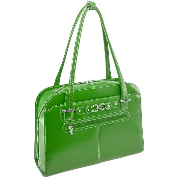 McKlein Oak Grove Leather Laptop Briefcase ($180) ❤ liked on Polyvore featuring accessories, tech accessories, green, leather laptop briefcase, laptop briefcase, computer briefcase, leather laptop case and leather computer briefcase