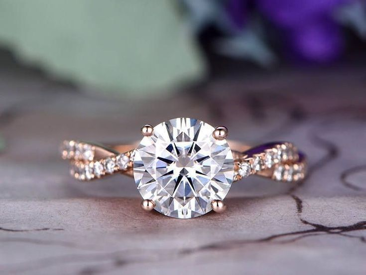 7.5mm Round Cut Moissanite Engagement Ring,14k Rose Gold,Half eternity band,Infinity band,Anniversary ring,Promise ring,pave,Gift for her - BBBGEM #roundcutmoissaniterings #weddingring