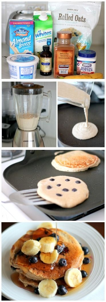 Oatmeal Cottage Cheese Banana Pancakes for one. Full of protein and they taste like banana bread!