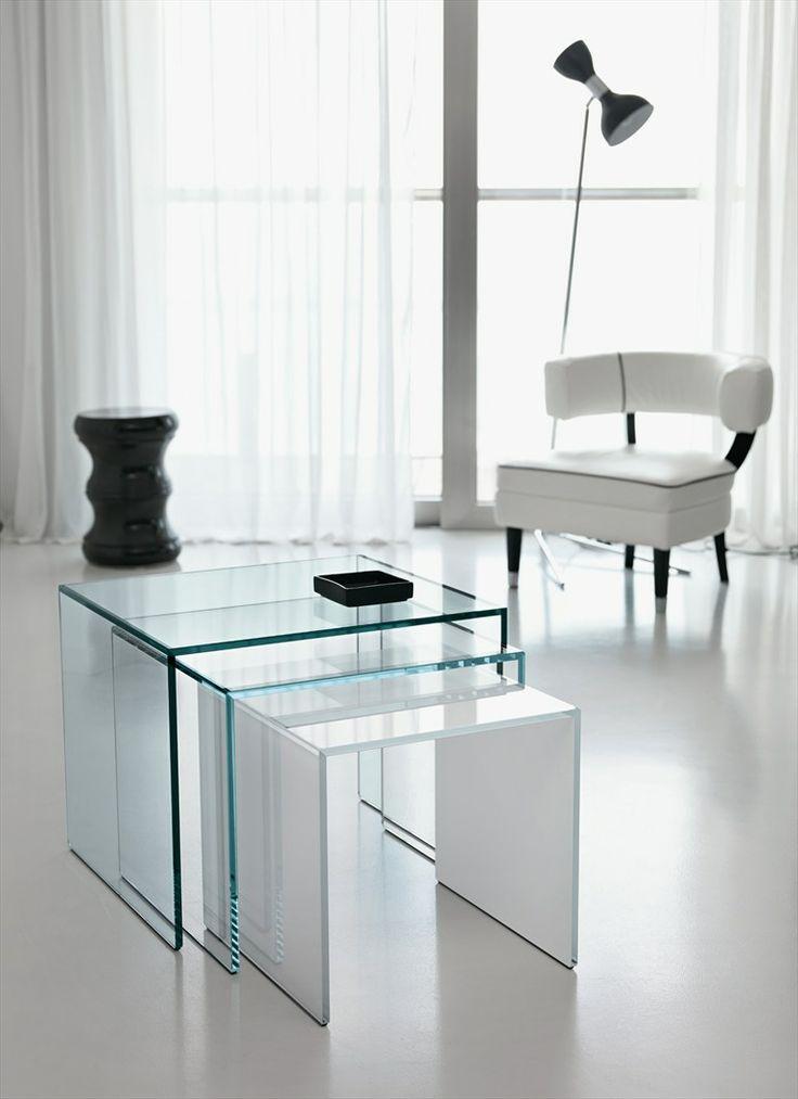 Glass side table TRIO - T.D. Tonelli Design