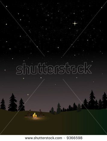 People around a campfire at night under the stars by Mark R, via Shutterstock