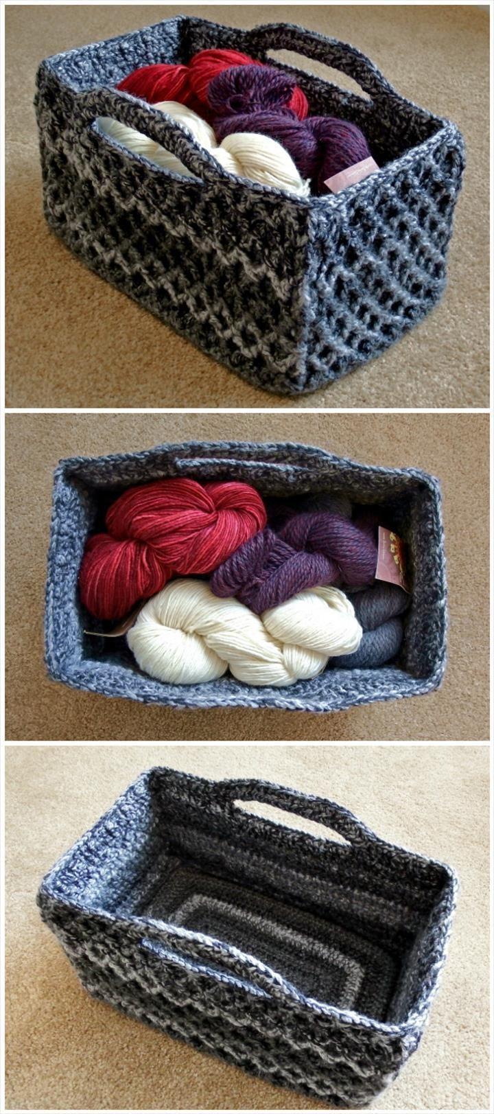 free crochet rectangular diamond trellis basket pattern