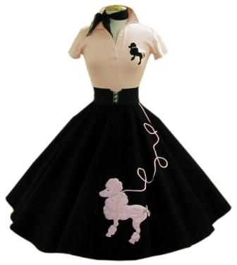 Grease poodle skirt with basque, poodle blousen neck scarf