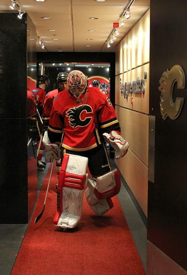 Joey MacDonald, Calgary Flames....former Red Wing...good luck in Calgary..we miss ya in Detroit
