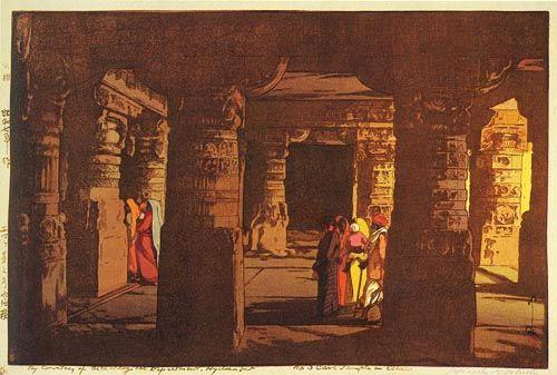 版画ギャラリー。 。 。 鳥居ギャラリー:吉田宏によるエローラで第3洞窟寺院
