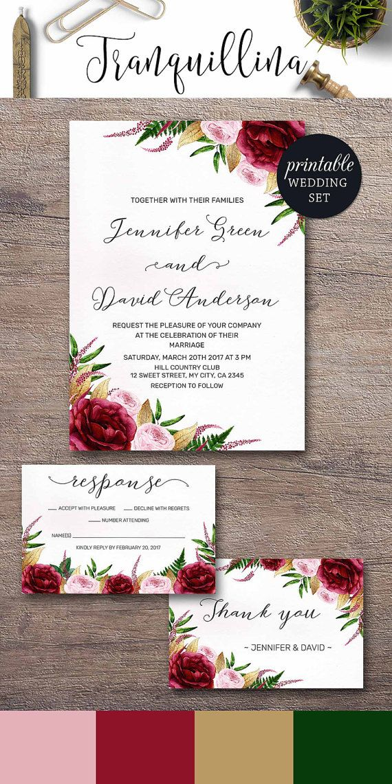 Watercolor Wedding Invitation, Marsala Wedding Invitation Burgundy Gold Pink Wedding Invitation Spring Summer Floral Wedding Invitation Set DIY. Wedding Trends. tranquillina.etsy.com