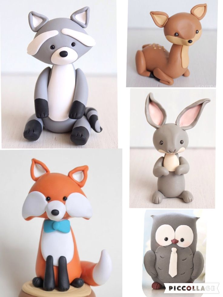 Woodland cake figurines made out of fondant. | Animal cake ...