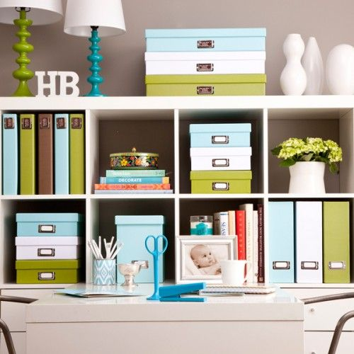 organized office in blue, green, white: Colors Combos, Crafts Rooms, Jane Work, Blue Green, Offices Organizations, Offices Storage, Organizations Offices, Home Offices, Offices Supplies