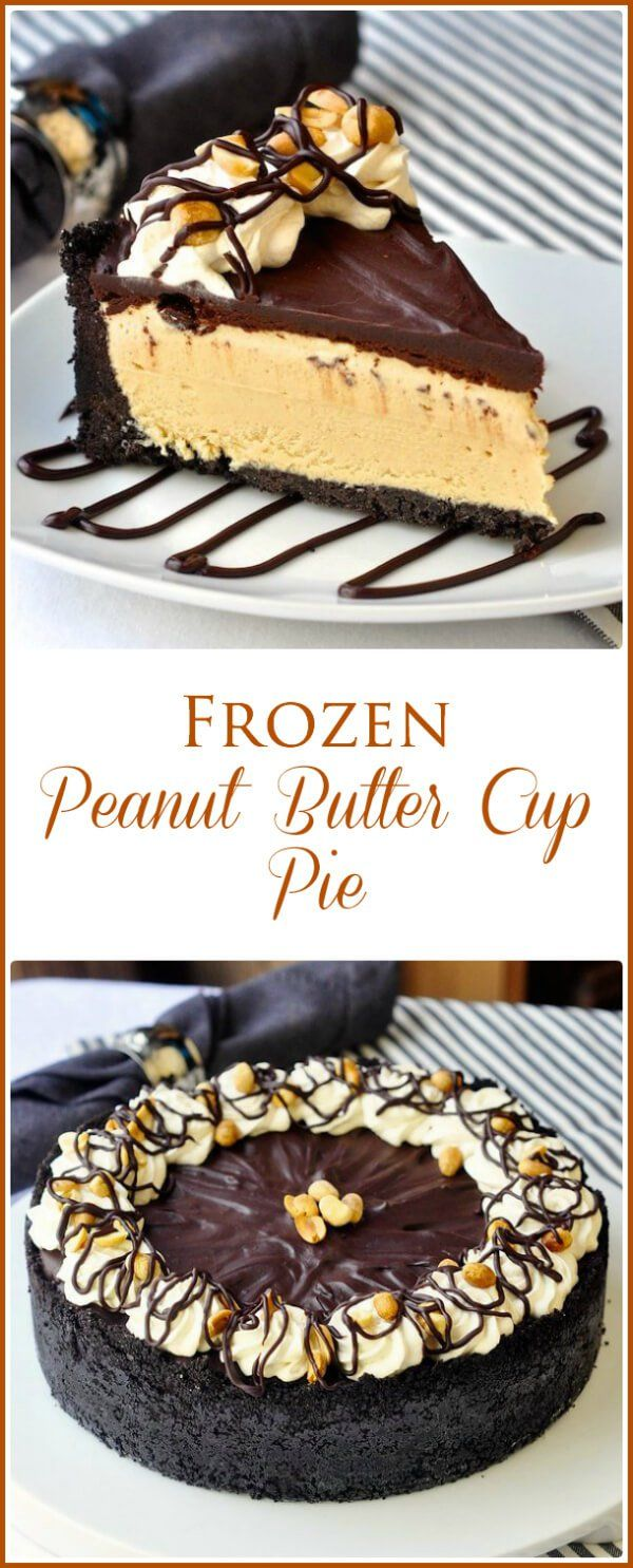 Frozen Peanut Butter Cup Pie - A luscious, creamy, frozen peanut butter cup pie that's easy to make without an ice cream maker. A perfect make ahead dessert for Thanksgiving or Christmas too!