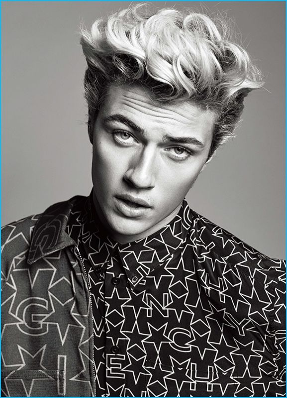 Lucky Blue Smith charms in a star print shirt from Givenchy by Riccardo Tisci.