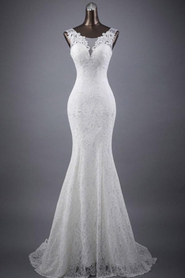 Scoop Neck Appliques Lace Trumpet/Mermaid Wedding Dress WD154