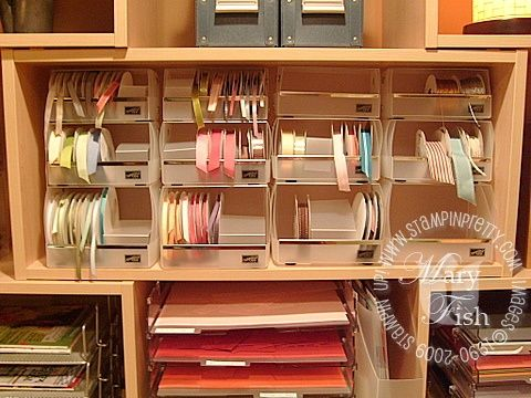 1000 images about ribbon and lace storage ideas on for Stampin pretty craft room
