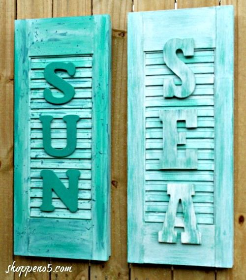 Old Shutters Made into Coastal Beach Signs. Featured on Completely Coastal: http://www.completely-coastal.com/2017/07/5-ways-to-make-large-beach-sign-from-something-old.html