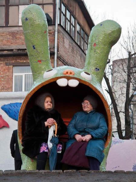 Bunny bus stop. Visit the slowottawa.ca boards >> http://www.pinterest.com/slowottawa/