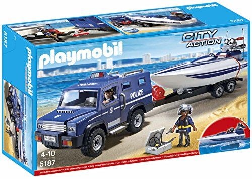 PLAYMOBIL Police Truck with Speedboat:   Protect by land and sea with the Police Truck with Speedboat. Race to the scene in the police truck, equipped with a removable roof and four working doors that make it easy to seat up to four figures. Kids can also embark on a water investigation with the floating speedboat. Cruise through the water automatically with the included underwater motor, and when the day's work is over, use the trailer winch to pull the boat into position on the trail...