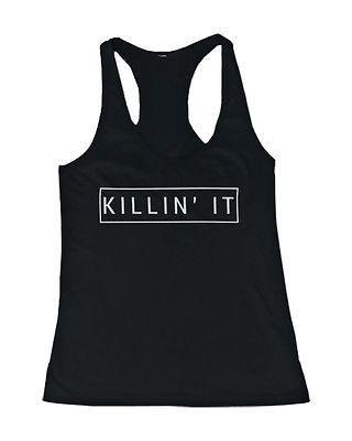 Women's Graphic Tanks - Killin' It Killing It Black Cotton Sleeveless Tank Top