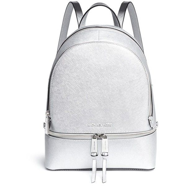 Michael Kors 'Rhea' small metallic saffiano leather backpack (1640 QAR) ❤ liked on Polyvore featuring bags, backpacks, metallic, michael kors bags, american bag, michael kors, rucksack bags and michael kors backpack