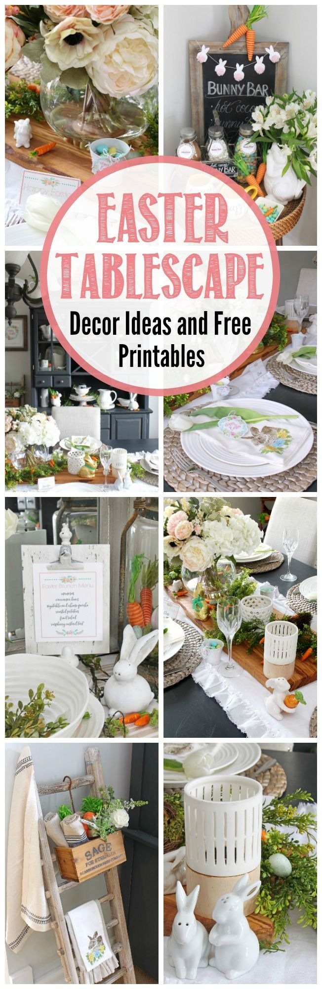 Beautiful ideas to decorate your dining room for Easter.  Free printable menus, placecards, and decor items that would be perfect for Easter brunch or Easter dinner.