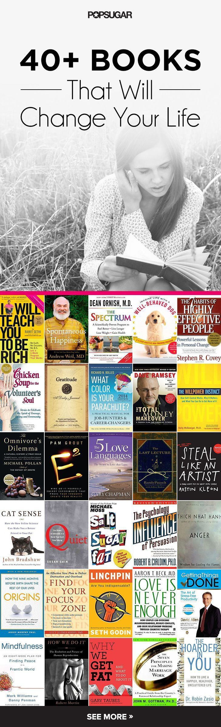 Knowledge is king. The first step to creating change in your life is to know what you're doing wrong or why you need to change. We've picked out over 40 books that will better your life in a dramatic way.