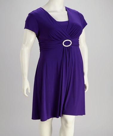 Take a look at this Purple Surplice Plus-Size Dress by R Richards on # ...