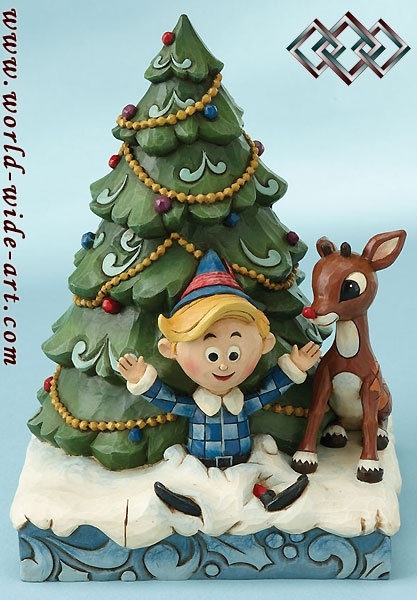 Rudolph the Red-Nosed Reindeer - Rudolph and Hermey Christmas - Jim Shore - World-Wide-Art.com: Jim Shore, Shore Collectibles, Trees, Hermey, Rudolph Figurine