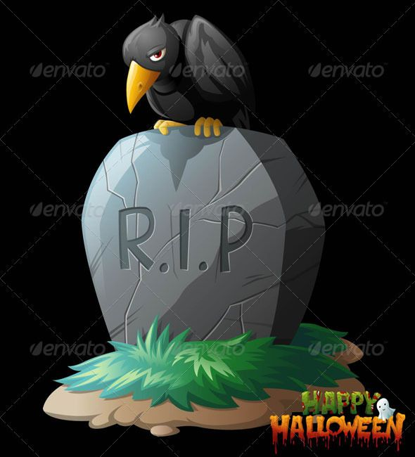 Raven on Grave Halloween Vector Clip Art  #GraphicRiver         Illustrative halloween clip art of a raven chillin' on a gravestone. Suitable for your upcoming Halloween-related design project. Comes with editable Ai files, EPS and high resolution transparent PNG files.   Thanks      Created: 9September11 GraphicsFilesIncluded: VectorEPS #AIIllustrator #TransparentPNG Layered: Yes MinimumAdobeCSVersion: CS Tags: bird #cartoon #cemetery #clipart #conceptual #creepy #crow #death #detail…