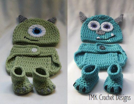 Crochet Monster Hat, Diaper Cover, and Booties Set. Photo Prop