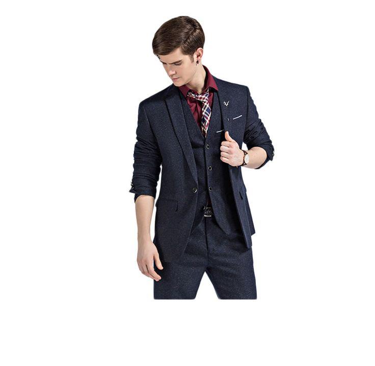 >> Click to Buy << 2016 New Arrival Dark Navy Groom Tuxedos One Button Peak Lapel Groomsmen Best Man Suits (Jacket+Pants+Vest) Wedding Suits #Affiliate