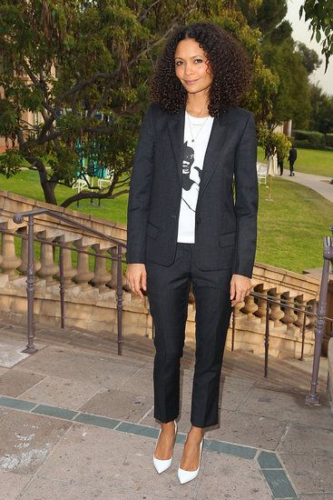 13 Stars Show Off a Fresh New Shoe Trend: White Pumps: Thandie Newton's white pumps added an unexpected ending to her cropped suit and printed tee at the 2013 Winter TCA Panel in Pasadena, CA.