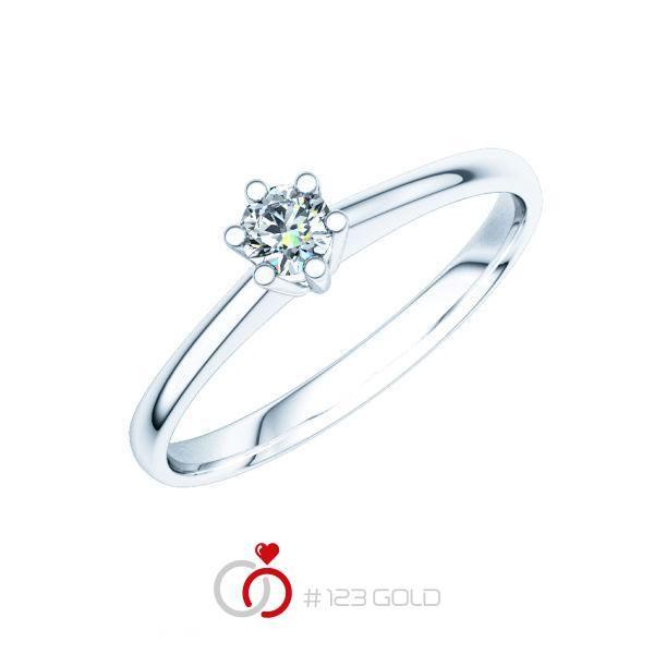 Verlobungsring Diamantring 6 Krappen, Zungenschiene- Legierung: Weißgold 585/- - Steinbesatz: 1 Brillant 0,2 ct. tw, vs
