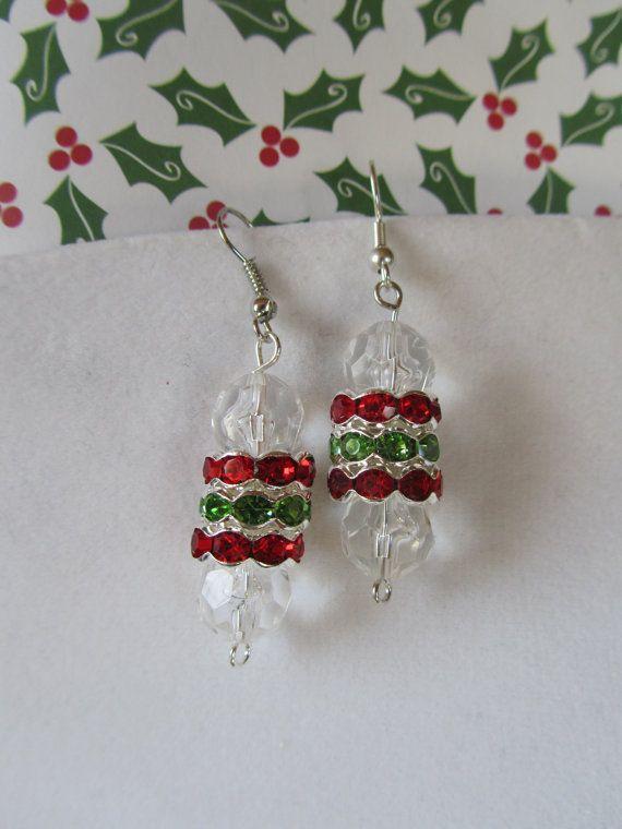 Christmas Earrings Crystal Christmas by BrownBeaverBeadery on Etsy